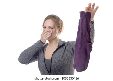 fitness model hold up smelly socks