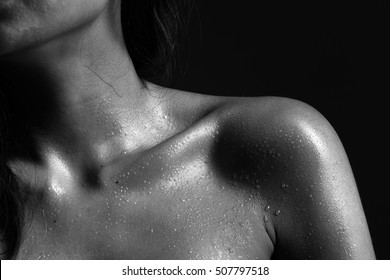 Fitness Model Lady woman sweaty sporty open shoulder after heavy exercise, weight loss black and white concept