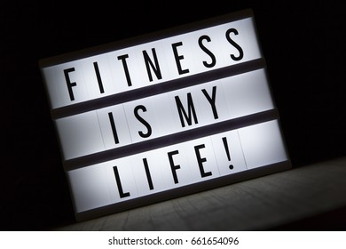 'Fitness is my life' text in lightbox