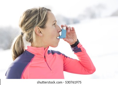 A Fitness running woman in winter season