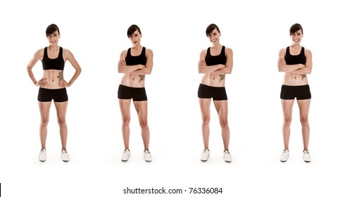Fitness Series of attractive Woman in shorts and a sports Bra