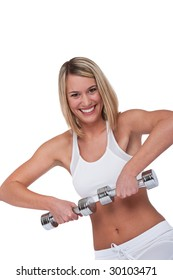 Fitness series - Smiling blond woman with weights on white background
