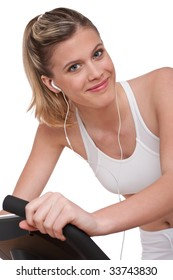 Fitness series - Woman with headphones exercising on white background