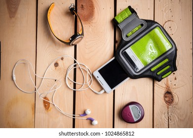 fitness set: fitness watch, heart rate monitor, pedometer, earphones, smartphone and arm case for smartphone