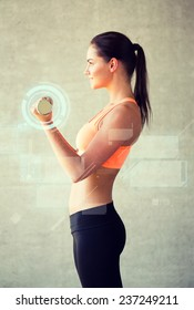 fitness, sport, training, future technology and lifestyle concept - smiling woman with dumbbells in gym and projections