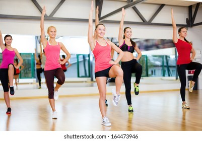fitness, sport, training, gym and lifestyle concept - group of smiling women exercising in the gym