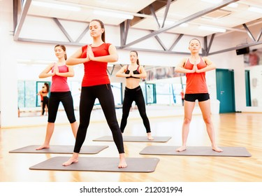 fitness, sport, training, gym and lifestyle concept - group of smiling people meditating in the gym