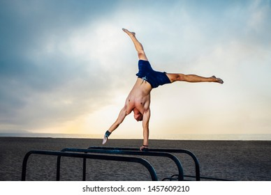 fitness, sport, training and lifestyle concept - young man exercising one arm handstand on bar outdoors - calisthenics