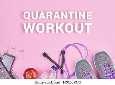Fitness sports equipment and accessories on pink background, flat lay with copy space. Home online workout, run or yoga exercise. Weight loss concept during quarantine