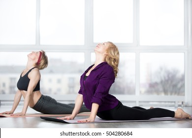 Fitness, stretching practice, group of two attractive happy fit mature women in sportswear working out in sports club, doing Cobra posture, backbend exercise, bhudjangasana (Bhujangasana) in class