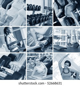 fitness theme black and white  photo collage composed of few images