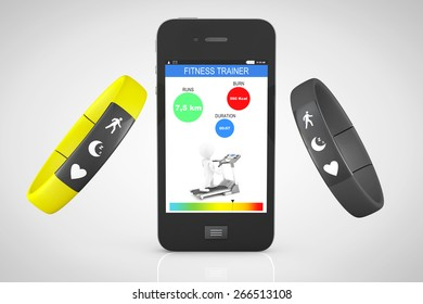 Fitness Trackers with Mobile Phone on a white background