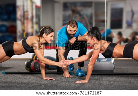Fitness Trainer Girls Doing Crossfit Workout Stock Photo Edit Now
