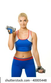 Fitness trainer with two dumbbells