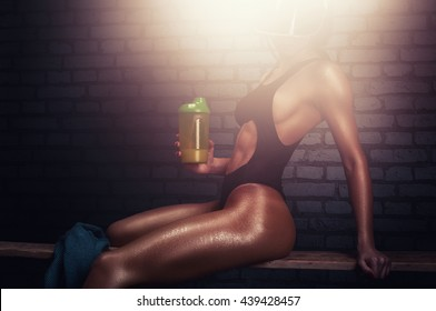 Fitness woman after workout.Athletic body model, shaker, bench and towel with bricks background.