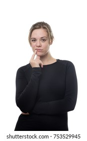 fitness woman all in black in deep thought
