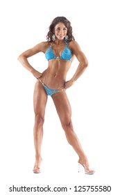 Fitness woman in bikini isolated on white background