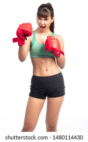 Fitness woman boxer isolated in white background. Asian girl, screaming.