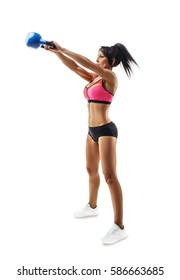 Fitness woman do kettlebell swing and kettlebell snatch. Crossfit training. Isolated on white background.