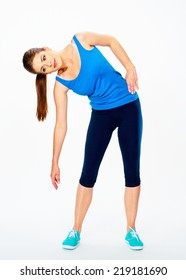 fitness woman doing gym exercise.  white background isolated