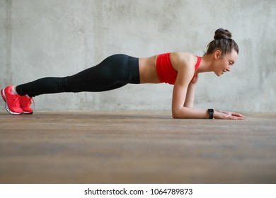 Fitness. Woman doing workout at home