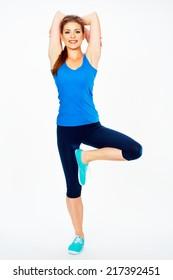 fitness woman doing yoga  exercise.  white background isolated