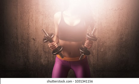 Fitness woman with dumbbells working out in gym