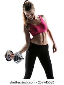 Fitness woman exercising crossfit holding dumbbell strength training biceps / photo set of sporty muscular female brunette girl wearing sports clothes working out with dumbbell over white background