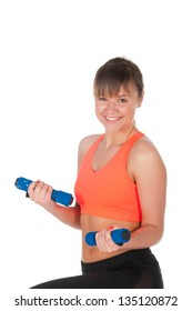 Fitness woman exercising with dumpbells. over white background