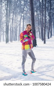 Fitness woman on the snow