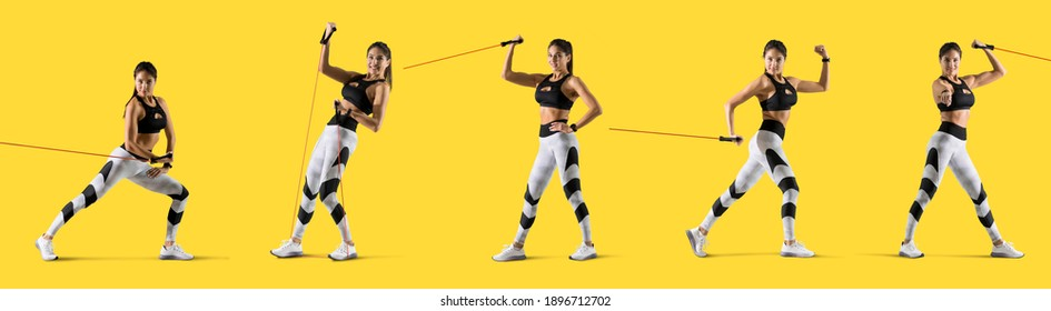 Fitness woman performs exercises with resistance band. Fitness model in sportswear isolated on yellow background
