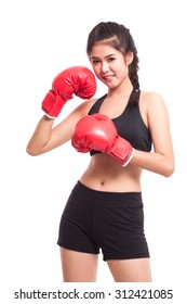 Fitness woman with the red boxing gloves