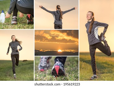 Fitness woman running collage