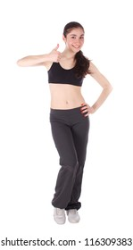 Fitness woman showing thumbs up sign on the white background.