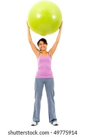 fitness woman smiling with a pilates ball isolated over a white background