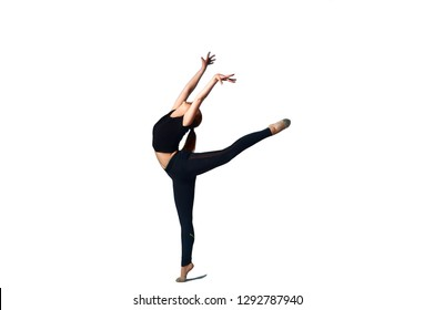 Fitness Woman Sport Dance, Girl Dancing Breakdance Gymnastic, Bending Freestyle Dancer White Isolated