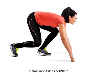 Fitness woman start running, isolated on white