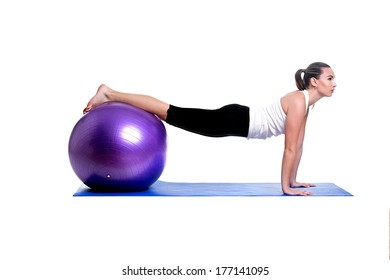 fitness woman working with fitball
