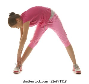 Fitness woman, young healthy girl doing stretching exercises, full length portrait isolated over white background