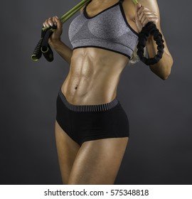 fitness women with a jumping rope