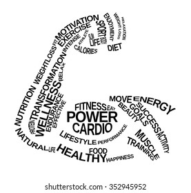 Fitness Word Cloud in the shape of an flexing arm