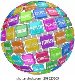 Fitness words on colorful tiles in a ball or sphere, including diet, exercise, health, wellness, training, strength, and physical endurance