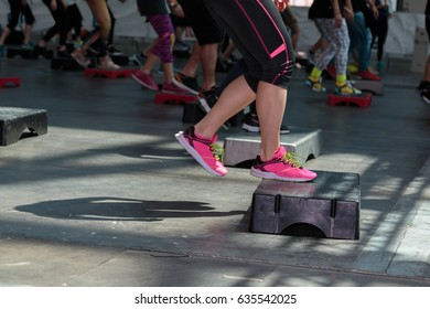Fitness Workout in Gym: Women doing Exercises in Class with Step Platform