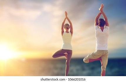fitness, yoga and people concept - happy couple making tree pose and meditating outdoors over sea background