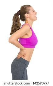 Fitness young woman with back pain