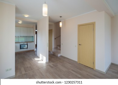 Fitted kitchen in the house. Modern home interior.