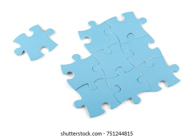 Fitting last puzzle piece on white background