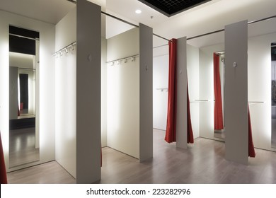 Fitting room interior in a mall. Nobody