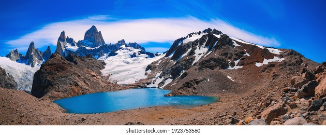 Fitz Roy and Laguna de Los Tres Panorama (a blue lake) in Los Glaciares National Park. It is located in the Southern Patagonian Ice Field, near El Chaltén village and Viedma lake.