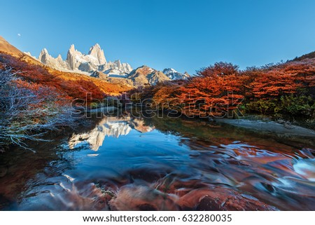 Fitz Roy mountain near El Chalten, in the Southern Patagonia, on the border between Argentina and Chile. Autumn view from the trail.